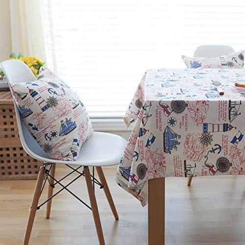 LKKLILY-tableclothtablecloth Funda de Tela de Gamuza de Azul velero manteles de Lino y algodón servilletas Mesa Mesa Mantel en el hogar, Mat Double 32 * 45: Amazon.es: Hogar