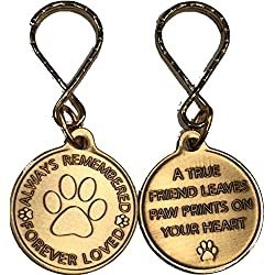 RecoveryChip Always Remembered Forever Loved Pet Memorial Keychain Dog Paw Print Design