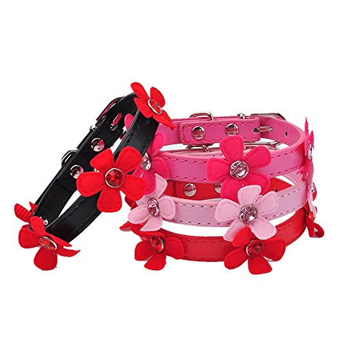 Glumes Pet Collar, Bling Crystal Flowers with Small Bell Pet Collar Cat Dog Necklace Safe Buckle Adjustable Strap for Dogs Cats Small -