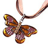 Clearance!Womens Enamel Butterfly Crystal Silver Personalized Pendant Necklace by Kimloog (Gold)