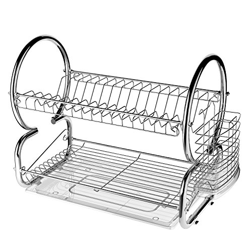 Price comparison product image 2 Tier Stainless Steel Dish Rack Cup Drying Rack Drainer Dryer Tray Holder Organizer (17L x 10W x 15H Inches)