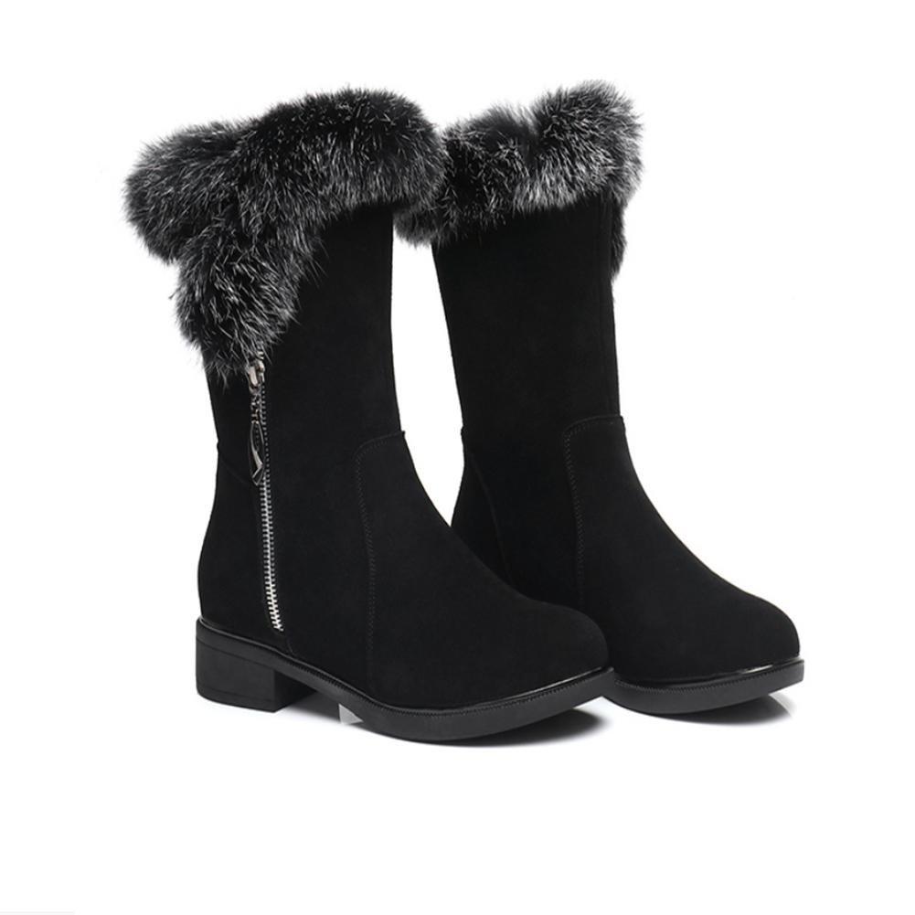 CHENGREN Die Schneeschuhe der Frauen in den flachen warmen warmen zufälligen Stiefeln der Stiefel im Herbst und im Winter, 43