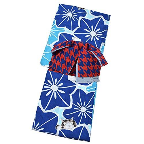 消化器ことわざ五月[ KIMONOMACHI ] 作り帯 浴衣セット「青×瑠璃紺 お花と猫」S、F、TL、LL カリキュロ ポリエステル浴衣 女性浴衣