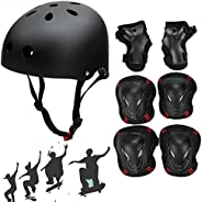 SymbolLife Skateboard/Skate Helmet with Protective Gear Knee Pads Elbow Pads Wrist Guards for Kids/Youth BMX/S