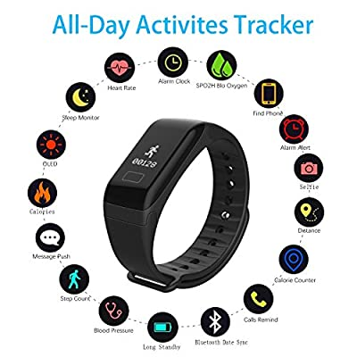 Fitness Tracker Smart Bracele Smart Watch Waterproof Pedometer Activity Tracker with Heart Rate Monitor, Blood Pressure/Oxygen Monitor Bluetooth 4.0 for IOS Android