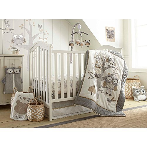 Levtex Baby Night Owl 5 Piece Crib Bedding Set, Quilt, 100% Cotton Crib Fitted Sheet, 3-tiered Dust Ruffle, Diaper Stacker and Large Wall - Bedding Beyond