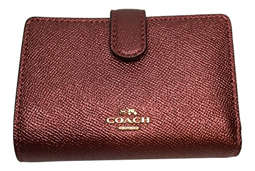 Coach Metallic Crossgrain Leather Medium Corner Zip Wallet F23256 Metallic Cherry (Metallic Cherry)