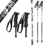 "Zipline Ski Poles Carbon Composite Graphite Lollipop U.S. Ski Team Official Ski Pole - Choose from 6 Color and 9 Size (Midnight Black/White, 44"" in./112 cm.)"