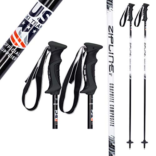 Zipline Ski Poles Carbon Composite Graphite Lollipop U.S. Ski Team Official Ski Pole - Choose from 6 Color and 9 Size (Midnight Black/White, 48