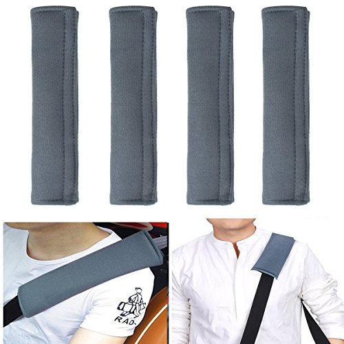 ilyever 4 Pack Universal Car Safety SeatBelt Shoulder Strap Pad Soft Headrest Neck Support Pillow Cover Cushion,No Slip,No Rubber-A Must Have for All Car Owners for a More Comfortable (Velcro Seat Belt)