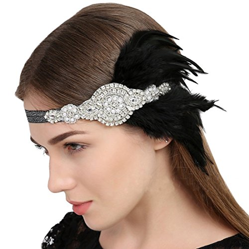 Vintage Gatsby Headbands Black Feather Silver Headpiece By Ever Fairy