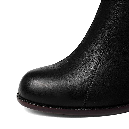 Toe Black Handmade Pumps Nine Women's New Heel Chunky Shoes Seven Business Trendy Elegant Genuine Round Leather UZXHq