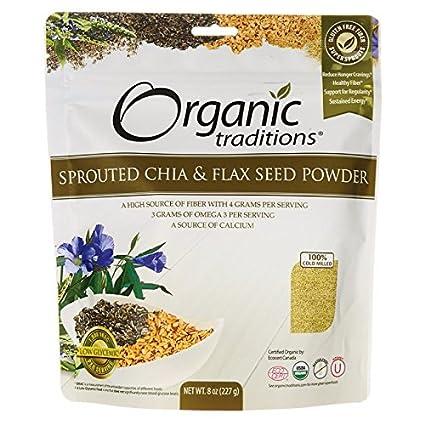Organic Traditions - Polvo brotado de la semilla de Chia y de lino - 8 oz