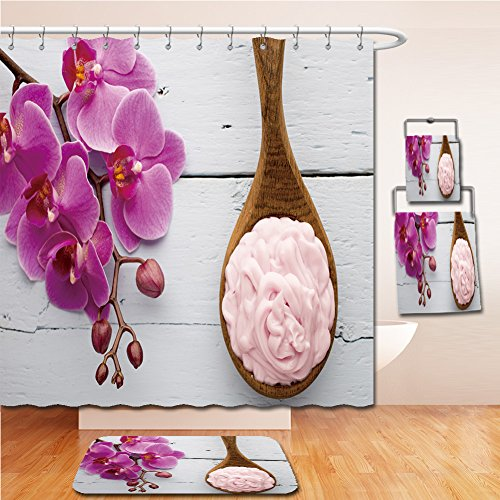 LiczHome Bath Suit: Showercurtain Bathrug Bathtowel Handtowel Pink orchid with buds. Greeting - Premium Chicago Outlets Fashion