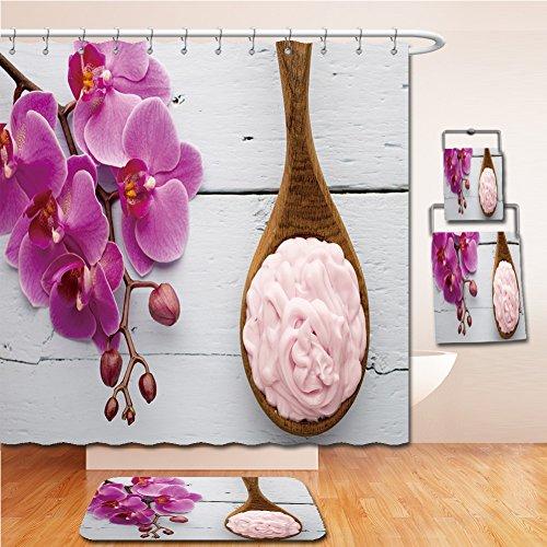 LiczHome Bath Suit: Showercurtain Bathrug Bathtowel Handtowel Pink orchid with buds. Greeting - Macy's Eagle Rock