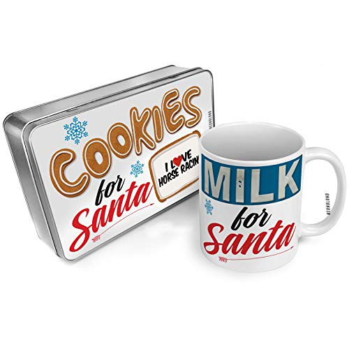 NEONBLOND Cookies and Milk for Santa Set I Love Horse Racing Christmas Mug Plate Box -