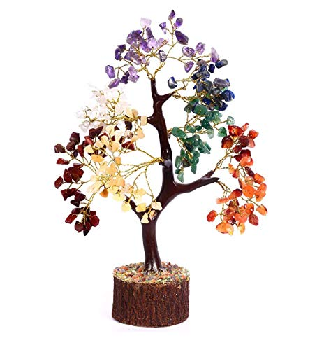 Crocon Seven Chakra Natural Healing Gemstone Crystal Bonsai Fortune Money Tree for Good Luck, Wealth & Prosperity-Home Office Decor Spiritual Gift (with Golden Wire and 300 Beads) Size 10-12 Inches (Handmade Tree Golden)