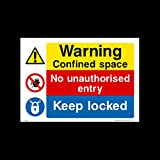 Warning confined space - No unauthorised entry Plastic Sign (MP27) - Danger, Caution, Flammable, Ear Protection, No Smoking, Harness, Men at work by USSP&S