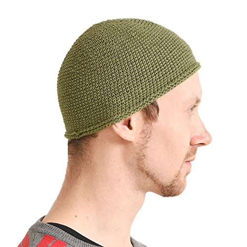Kufi Hat Mens Beanie - Men Cotton Skull Cap Hand Made 2 Sizes Islam Khaki L