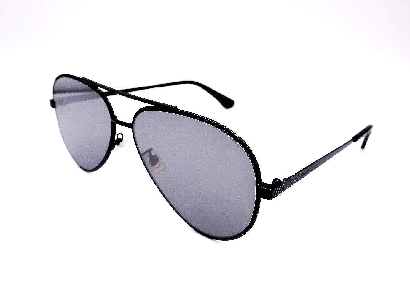 5aae0c4402f Amazon.com  Authentic YVES SAINT LAURENT Black Aviator Sunglasses Classic  11 Zero-003NEW  Clothing