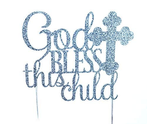 CMS Design Studio Handmade Cake Topper Decoration - God Bless This Child - Made in USA with Double Sided Gold Glitter Stock (Silver)