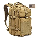 Cheap Military Tactical Backpack,Small Molle Assault Pack Army Bug Out Bag Backpacks Rucksack Daypack with Tactical US Flag Patch Khaki