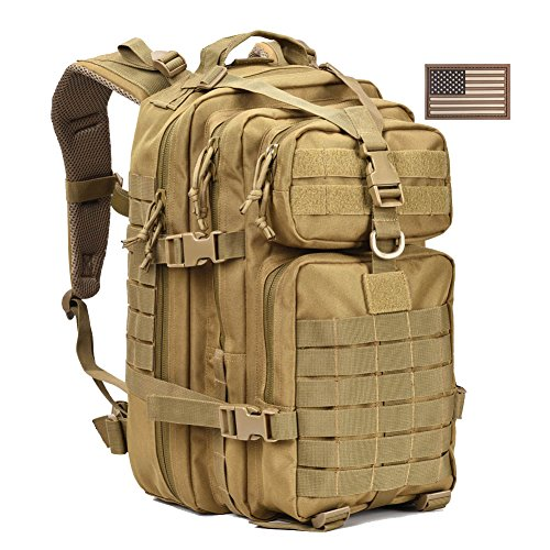 Military Tactical Backpack,Small Molle Assault Pack Army Bug Out Bag Backpacks Rucksack Daypack with Tactical US Flag Patch Khaki -