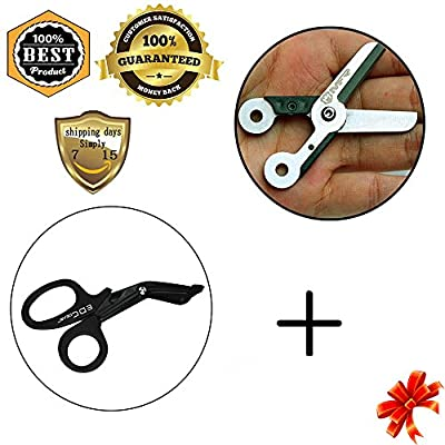 MeanHoo EDC Heavy Duty Military style Medical First Aid Bandage Trauma EMT/Paramedic Shears/Scissors - Mini Spring Scissor Pocket Tool Key Chain Stainless Steel Survival Tools Sets