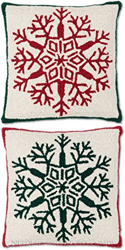 Traditional Handmade 100% Wool Hooked Red Green Snow Flake Seasonal Winter Snowflake Decorative Holiday Christmas Throw Pillow Pair. 18
