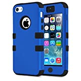 5C Case, Asstar [Stand Feature] 3 in 1 PC+Silicone Hybrid Hard Back All-round Protection Shockproof & Drop Resistance Anti-slip Cover for iPhone 5C (Blue black)