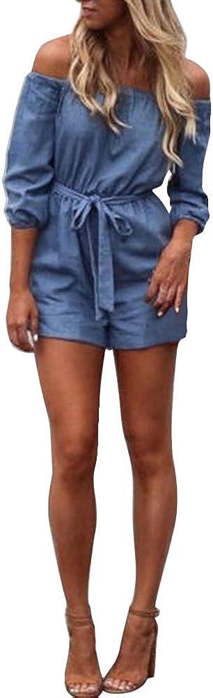 poedkl Summer Womens Off Shoulder Mini Playsuit Ladies Summer Shorts Jumpsuit