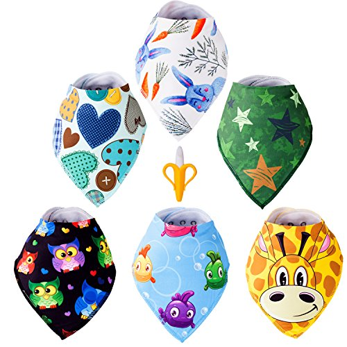 Baby Bandana Drool Bibs - BPA Free Banana Teether Toothbrush Set - Super Soft, Ultra Absorbent - Machine Washable, Color wont Fade - Unisex Pattern - For Baby Boys & Girls 0-36 Months Old