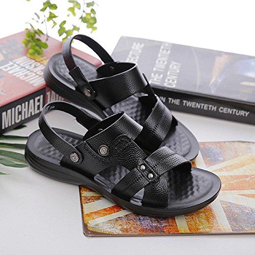Estate I sandali dei nuovi uomini Sandali di massaggio morbido basso Fashion, Black, UK = 8.5, EU = 42 2/3