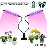Grow Light, Auto ON & Off Every Day with Two-Way Timer Growing Lamp for Indoor Plants, High Power LED, 8 Dimmable Levels, 4/8/12H Memory Timing for Gardening (Dual Heads Red/Blue Spectrum) For Sale