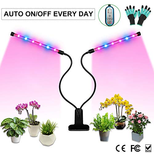 Grow Light, Auto ON & Off Every Day with Two-Way Timer Growing Lamp for Indoor Plants, High Power LED, 8 Dimmable Levels, 4/8/12H Memory Timing for Gardening (Dual Heads Red/Blue Spectrum)