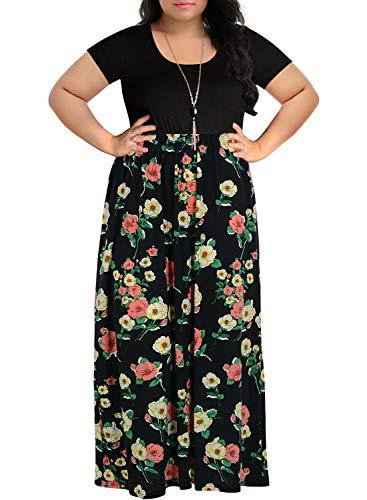 Nemidor Women's Chevron Print Summer Short Sleeve Plus Size Casual Maxi Dress (18W, Red Flower) ()