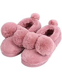 Unisex Cute Ball House Slippers Winter Soft Plush Bedroom Indoor Slipper Shoes For Lovers