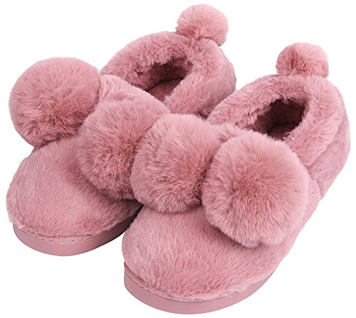 UIESUN Unisex Cute Ball House Slippers Winter Soft Plush Bedroom Indoor Slipper shoes for Lovers Rose 38/39