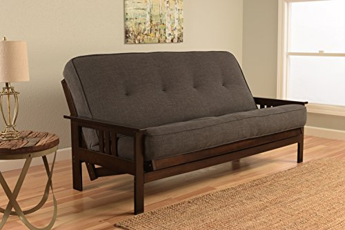 Kodiak Furniture KFMOEPLCHALF5MD3 Monterey Futon Set with Espresso Finish, Full, Linen CHARCOAL by Kodiak Furniture