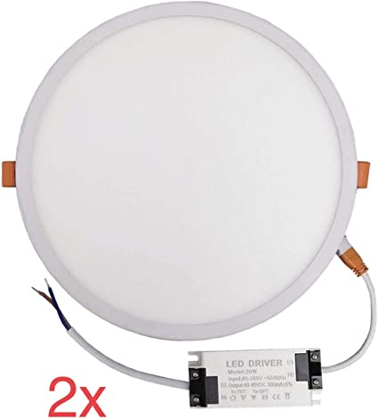 Pack 2x Panel LED redondo 20w, corte AJUSTABLE (50-200mm). Color ...