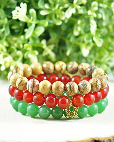 FORZIANI GOOD LUCK Set of 3 Beaded Bracelet for Men – Green Jade, Jasper and Red Onyx with Lotus Tag, Adjustable, Luxury Gift Box and Leather Pouch - Perfect Gift for Him - Red Jade Beaded Bracelet