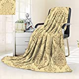 vanfan Soft Warm Cozy Throw Blanket Regular Damask Patterns Islamic Antique Lace Floral Patterns Oriental Style Decorative Art Beige,Silky Soft,Anti-Static,2 Ply Thick Blanket. (62''x60'')
