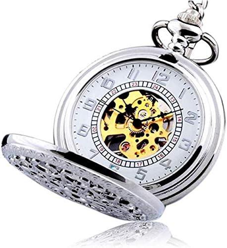 両面中空機械式時計クラシックレトロネックレスさん男性学生懐中時計懐中時計コレクションを彫刻しました