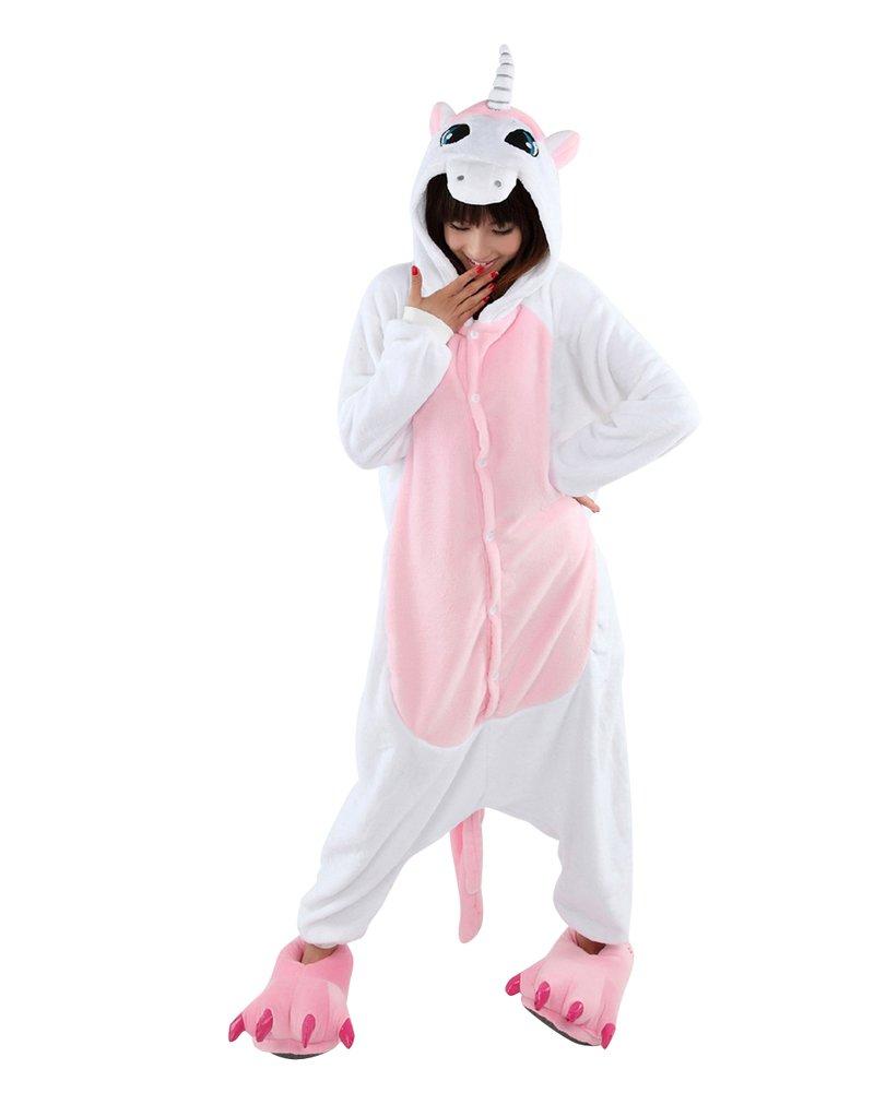 Neu Einhorn Kigurumi Onesie tierkostüme erwachsene Halloween Kostüm Tier Pyjama mit Kapuze Nachtwäsche blau
