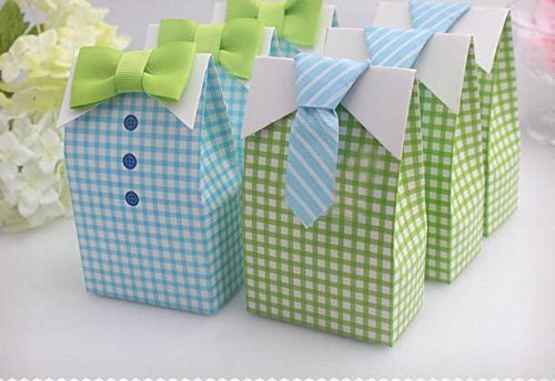 Haperlare 50 pcs My Little Man Candy Favor Boxes Boy Baby Shower Party Favor Boxes with Blue Green Bow Tie Ribbon Paper Candy Bags for Blue Green Gingham Party Decorations -