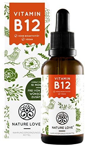 NATURE LOVE® Vitamin B12 Tropfen Vegan in 50ml (1700 Tropfen). Hochdosiert: 1000µg je Tagesdosis. Beide aktive B12 Formen: Methyl- & Adenosylcobalamin. Hoch bioverfügbar, hergestellt in Deutschland