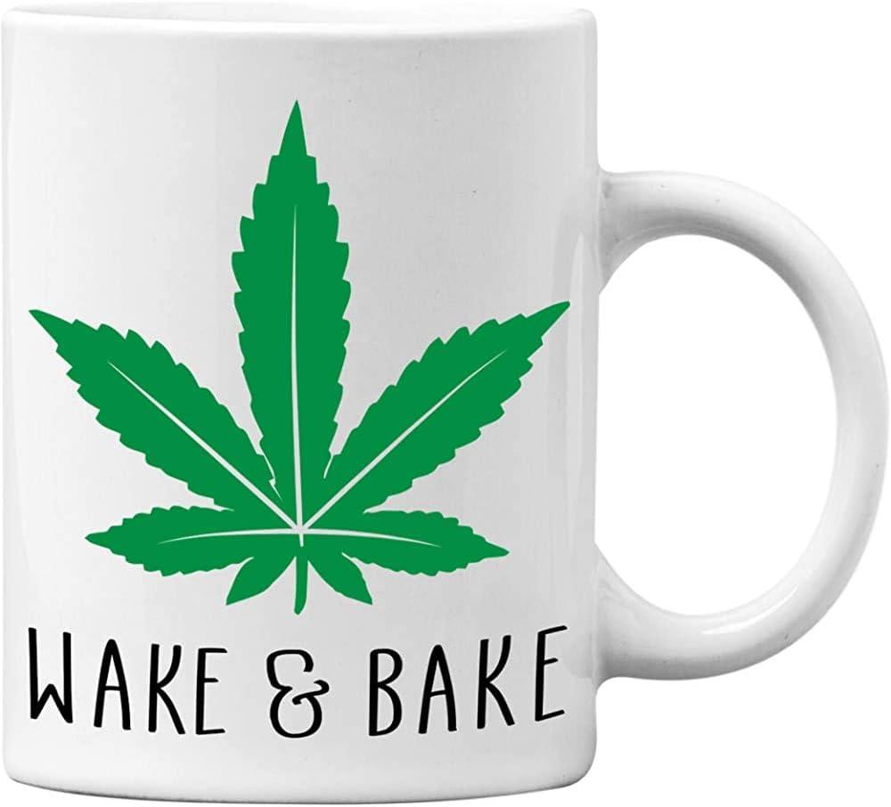 Taza Mug,Taza Desayuno,Taza De Cerámica,Despierta Y Hornea Divertido Blanco 11 Oz. Taza De Café Weed Marijuana-Gran Regalo De Novedad Para Los Fumadores De Cannabis Y Marihuana