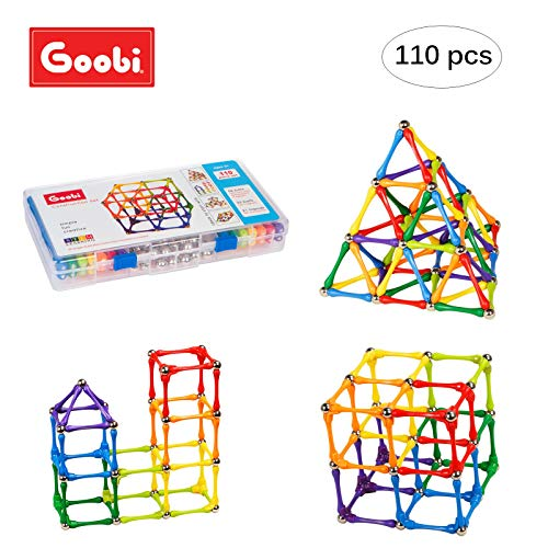 Goobi 110 Piece Construction Set Building Toy Active Play Sticks STEM Learning Creativity Imagination Children's 3D Puzzle Educational Brain Toys for Kids Boys and Girls with Instruction Booklet