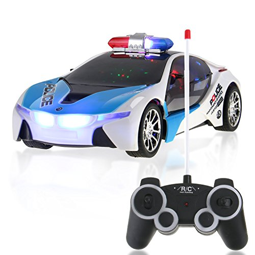 (RC Concept Police Car 1:16 Scale Full Function Remote Radio Control - Flashing Lights + Sounds)