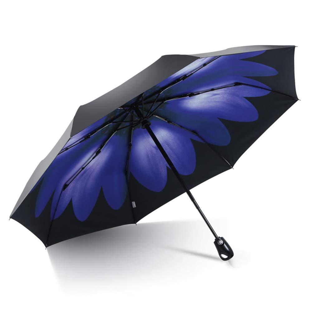 旅行傘、防風自動オープンクローズ傘コンパクト折りたたみパラソル日焼け止めアンチ UV 傘,Blue B07Q3618PS Blue